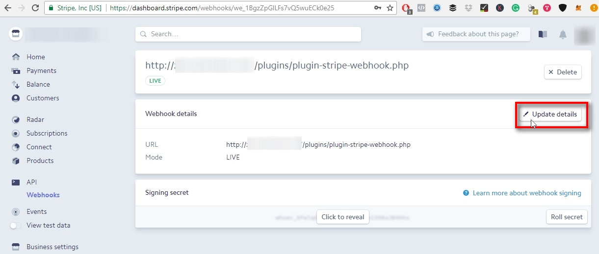 Webhook details window