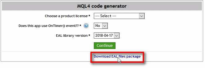 Download the EAL files package;On the MQl4 code generator page, you'll find a link to download the EAL files package. Click that link and open the downloaded package.