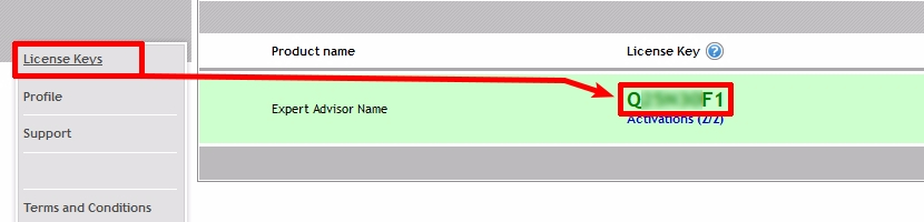 ;And if the user inputs a wrong License Key, then the EA will display this screenshot. It shows where the user can find his License Key.