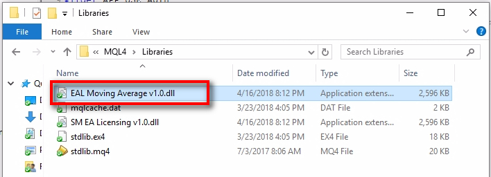 Newly created DLL file;Here's the newly created DLL file which we will use for the new product 'Moving Average' EA. Users will also require installing this file into their MT4 Data Folder together with the EA. In summary, users will have to install these two files to use your protected EA: 1) EA file 2) DLL file Of course, if your EA requires using some other files, then these will be necessary too, but that's different from the EAL MQL4 code. Note the file name because we will use it in the EA. It will be a part of the EAL MQL4 code. I named the DLL file to match the product name and added EAL at the beginning to give myself a clue that this DLL is for EA Licensing system. You can name the DLL file any way you like, but I strongly recommend you keep the 'v1.0' part at the end. It will help to differentiate between different DLL file versions if there happen to be new versions in the future as the EAL system gets upgrades.