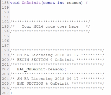 Add MQL4 code Section #4 (OnDeinit);The MQL4 code of Section #4 must be added right BEFORE the closing } of the OnDeinit() event. OnDeinit() usually does not exist in Indicators, but I recommend adding it for the best experience. int OnDeinit() { //The rest of the code    //EAL MQL4 code Section #4 goes here }
