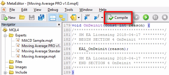 Compile the Expert Advisor;We've added the EAL MQL4 code, and now it is time to compile the EA file. Click the 'Compile' button in the top toolbar. Watch for the result at the bottom of MetaEditor.