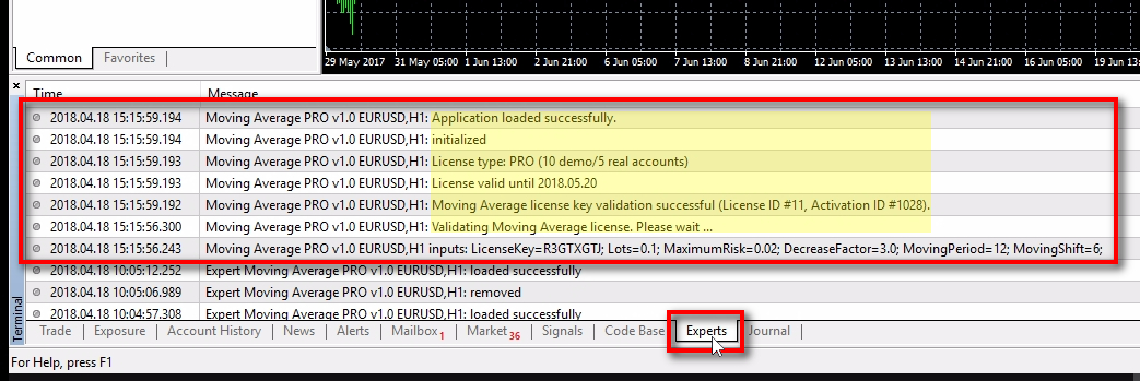 Another place to check if the EA loaded successfully;Another way to check if the EA loaded successfully is the EXPERTS tab at the bottom of the MT4 terminal. Look for messages from your EA. You can see all messages have a time stamp and start with the name of the EA, chart instrument and its time frame. When you see messages like 'Application loaded successfully' and 'License key validation successful' then it means EA was able to validate the License Key and start its operations. The next steps of what the EA should do depends on what your programmer created, etc. It is beyond EAL system and should be taken care of by your programmer.