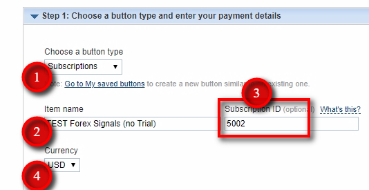 Create new PayPal button in Sandbox Account To make a quick test, we'll create a button without a trial period and use the same Subscription ID 5002 like in the real PayPal account. This way we'll have a PayPal button in the Sandbox account with the same parameters which will trigger the same Offer. Set other parameters like illustrated in the image.