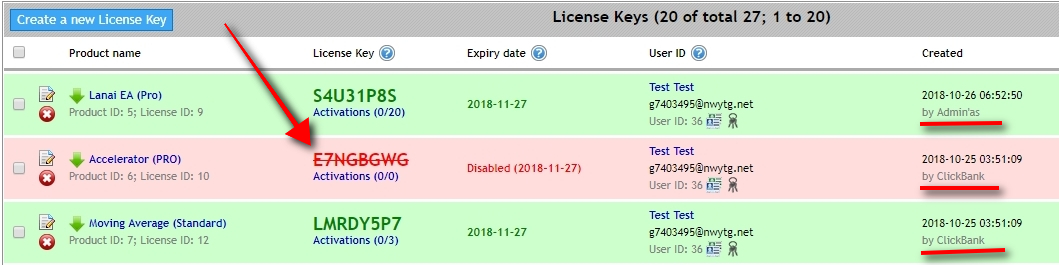 Once the refund request is processed, open the License Keys page to see that the Offer disabled only Accelerator PRO License Key. It is because this particular Product is still listed in the Offer. We've removed Moving Average Standard from the Offer, so it did not disable its License Key, and the Lanai EA Pro was created manually. Offer cannot touch manually created License Keys.