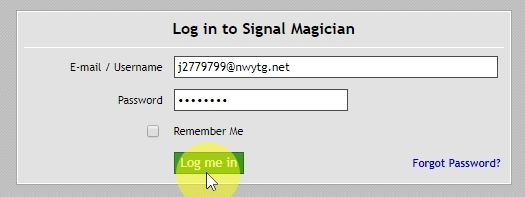 Log in as a new customer to see the member's area We use login information of the newly created username to access the member area. This is to show you how customers will see it. You might need to logout from your Signal Magician account first.