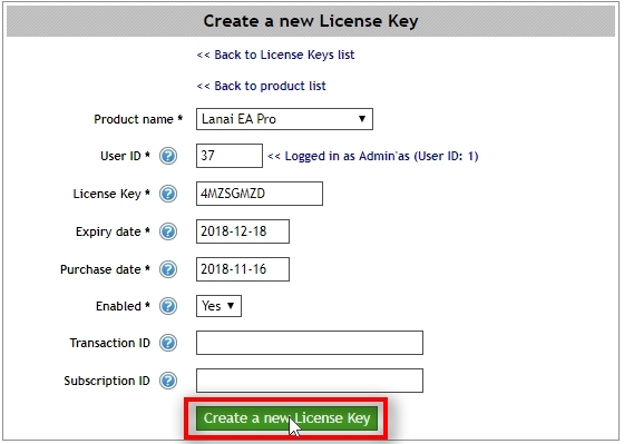 Let's choose to create Lanai EA Pro License Key. Click on Create a new License Key button.