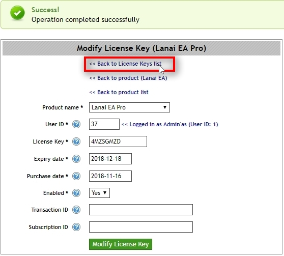 When License Key is created click on Back to License Keys list.