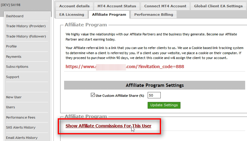 Each user on Signal Magician can be your affiliate, and every user has their unique affiliate link. Users and admins can access the affiliate link on the user's profile page in the Affiliate Program tab. Admins can also set a custom affiliate share for each partner. There's also a link to the list of affiliate commissions and payouts.