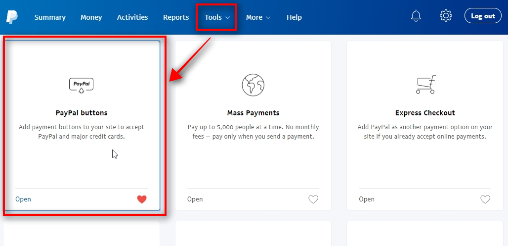 Access Tools in your PayPal Log into your PayPal account and choose All Tools sub-menu from the top menu Tools. When you land on the Tools page, choose PayPal buttons.