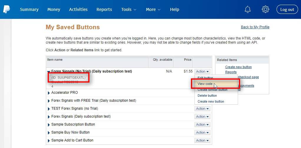 When you land on the My Saved Buttons page, you need to choose View code from the Action menu of the particular PayPal button. It gives you HTML code for selected PayPal button which has a button ID inside. This way you can copy it and paste in another form. The PayPal button ID is visible below the button name after you click on it, but for some mysterious reason, PayPal made it close to impossible to copy the ID from this page. For this reason, we copy the ID from the View code page.