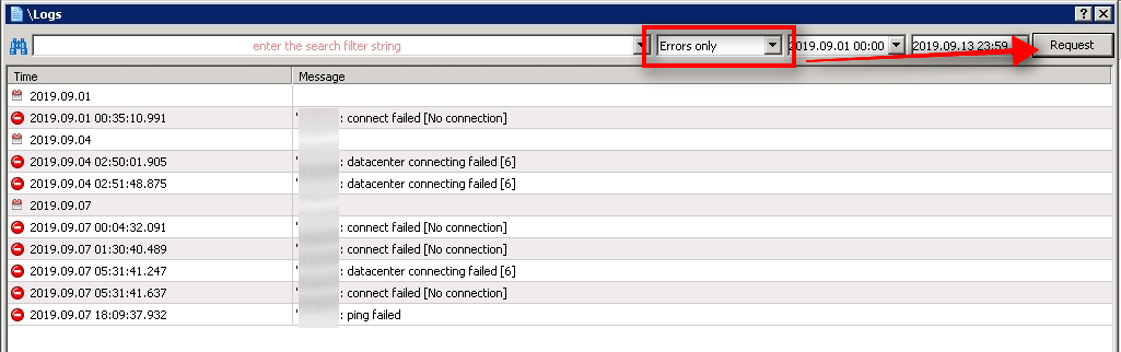 Display only error messages Journal log window also allows you to filter through error messages only. It is the fastest way to see errors in the Journal log. However, none of these errors happened on September 12, so they are irrelevant to my case today.