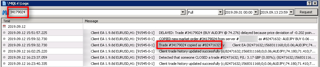 I search for more messages related to the master trade #34179024, and I see that Client EA copied it as #82471632 on the client MT4 account. Let's look for more messages about the #82471632 client trade.