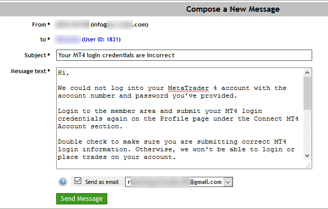 A ready-made template to notify users about incorrect MT4 login details.