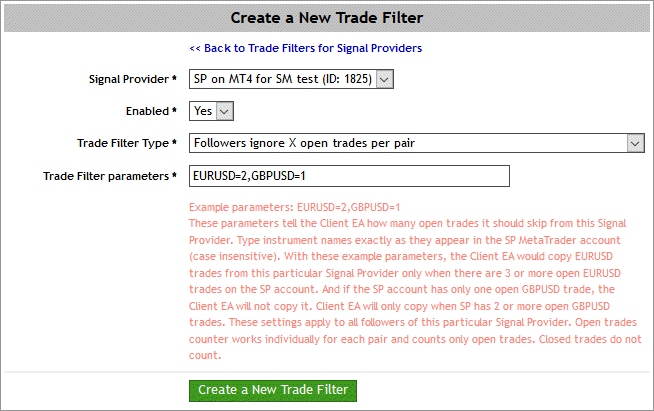 Creating a trade filter on Signal Magician
