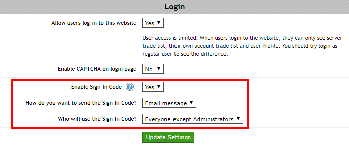 Sign-In Code settings on the Signal Magician panel.