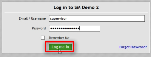 Log into SM panel as a supervisor