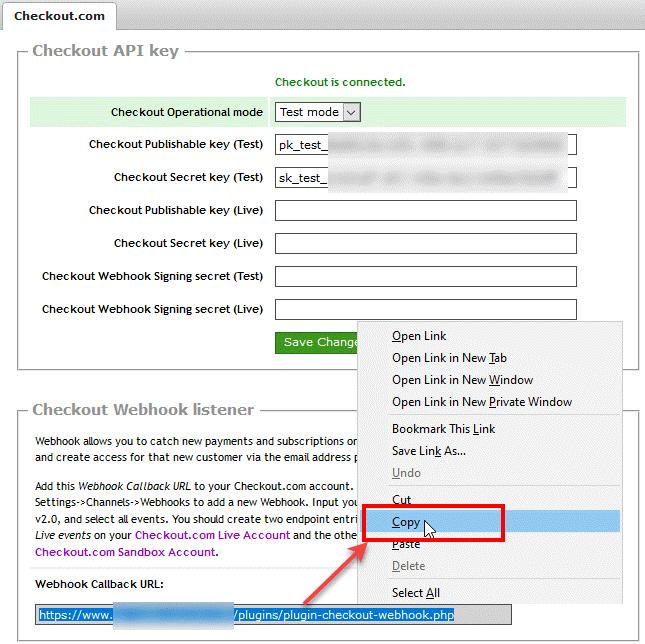 Copy Checkout.com Webhook listener URL