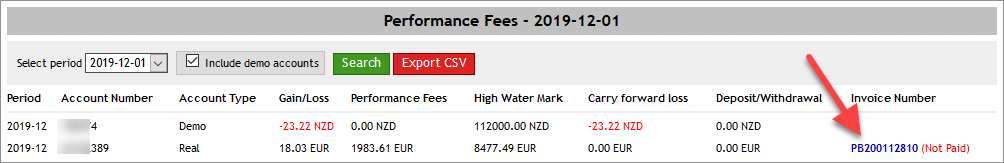 Performance Fees list with invoice numbers
