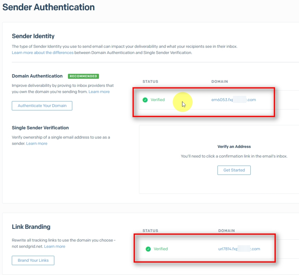 Once you complete the verification and Sendgrid finally finds your DNS records, you'll see the status change to Verified for Domain Authentication and Link Branding.