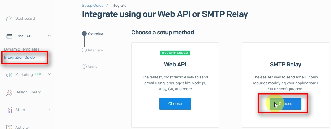 Creating Sendgrid API key for SMTP Relay Next, we need to create an API key for use as a password for SMTP Relay.