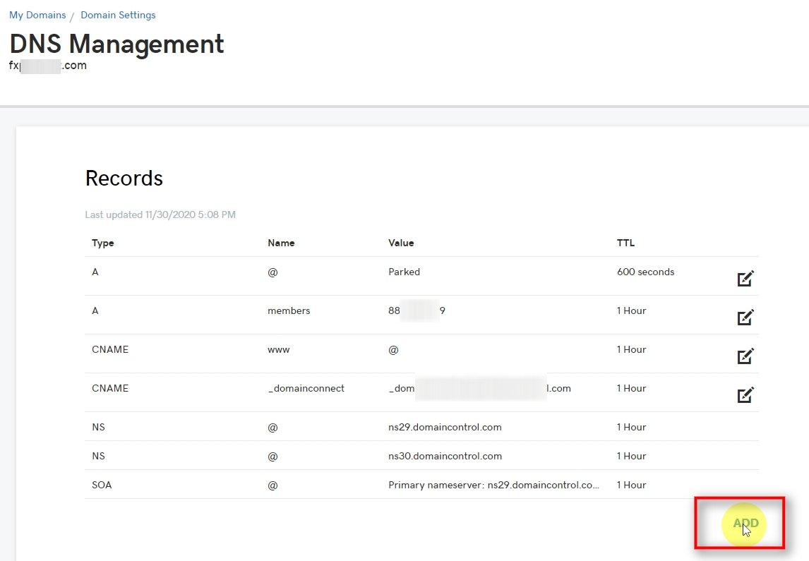 On the DNS Management page, you'll usually see lots of items, numbers, etc. To create a new DNS record, you need to click on the ADD button.
